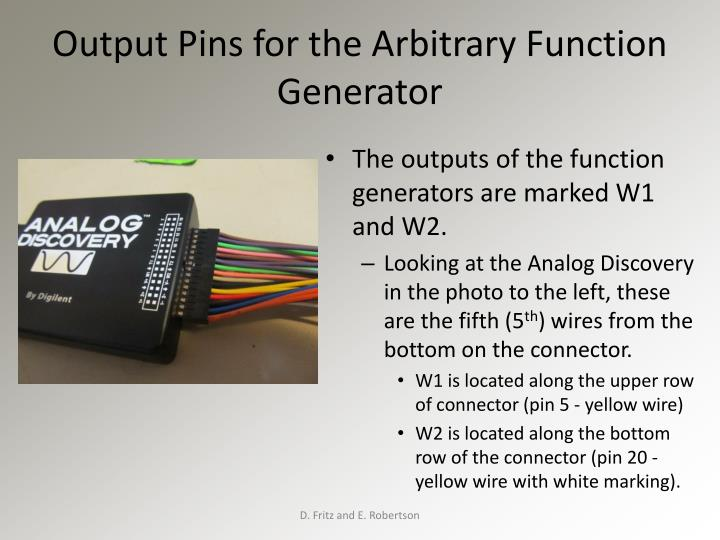 Output Pins for the Arbitrary Function Generator