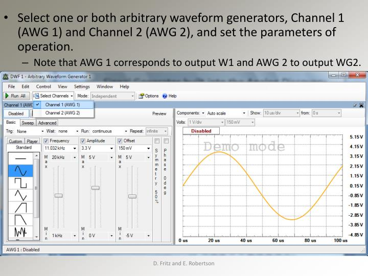Select one or both arbitrary waveform generators, Channel 1 (AWG 1) and Channel 2 (AWG 2), and set the parameters of operation.