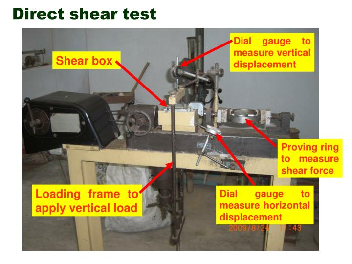 a lab experiment on conducting a direct shear test to determine the angle of internal friction of dr Why conduct a triaxial test the triaxial test is one of the most versatile and widely performed geotechnical laboratory tests, allowing the shear strength and.