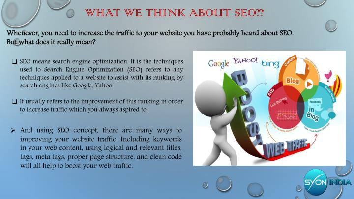 What we think about seo