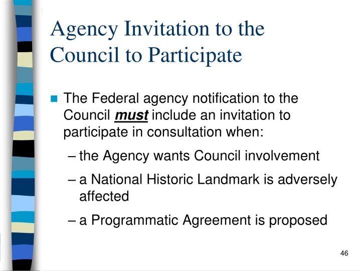 Agency Invitation to the   Council to Participate