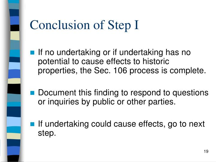 Conclusion of Step I