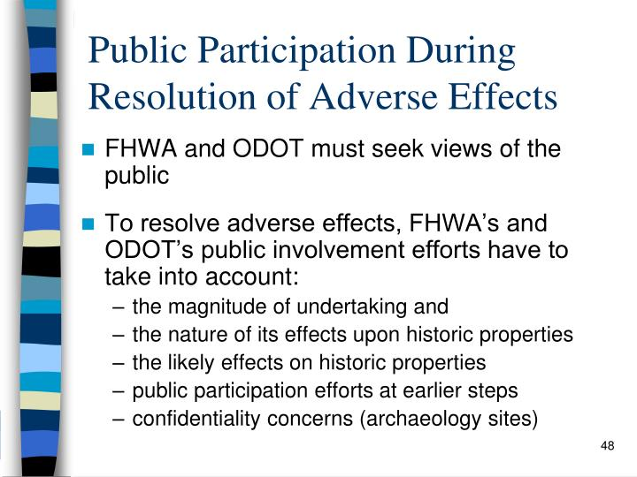 Public Participation During Resolution of Adverse Effects