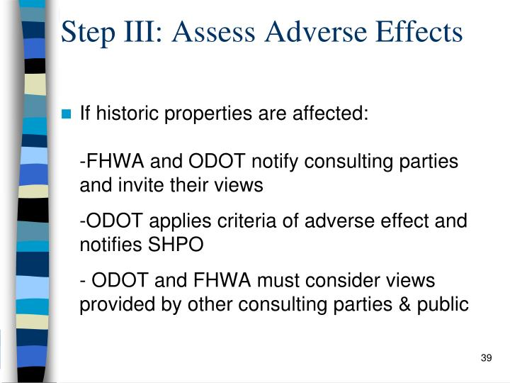 Step III: Assess Adverse Effects