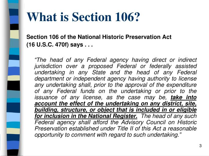 What is Section 106?