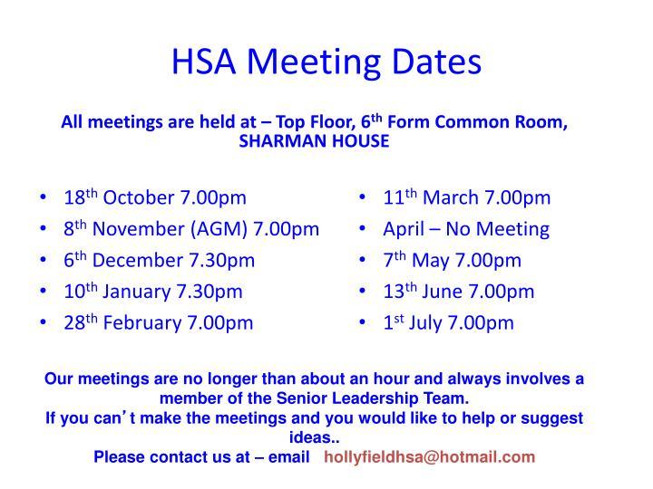 Hsa meeting dates