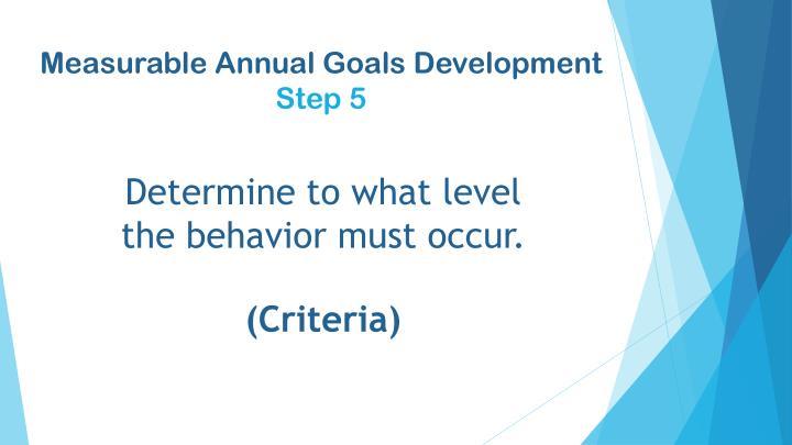 Measurable Annual Goals Development
