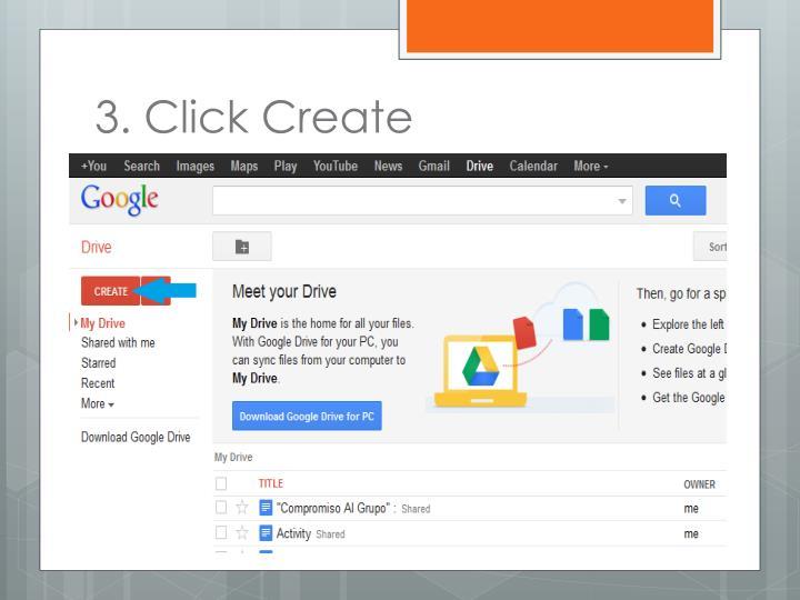 3. Click Create