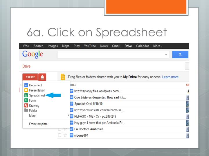 6a. Click on Spreadsheet