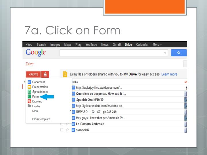 7a. Click on Form