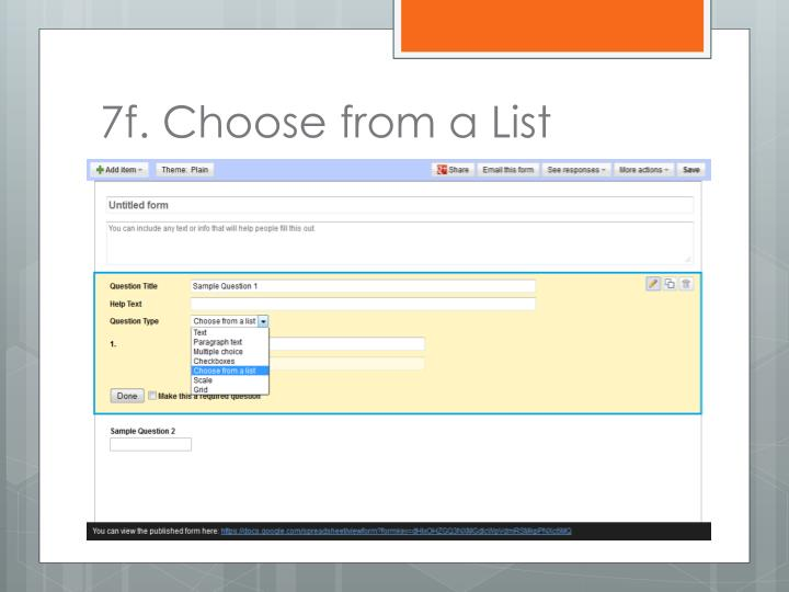 7f. Choose from a List