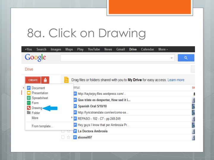 8a. Click on Drawing