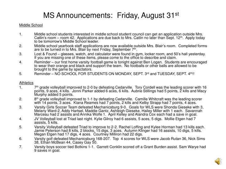 ms announcements friday august 31 st n.