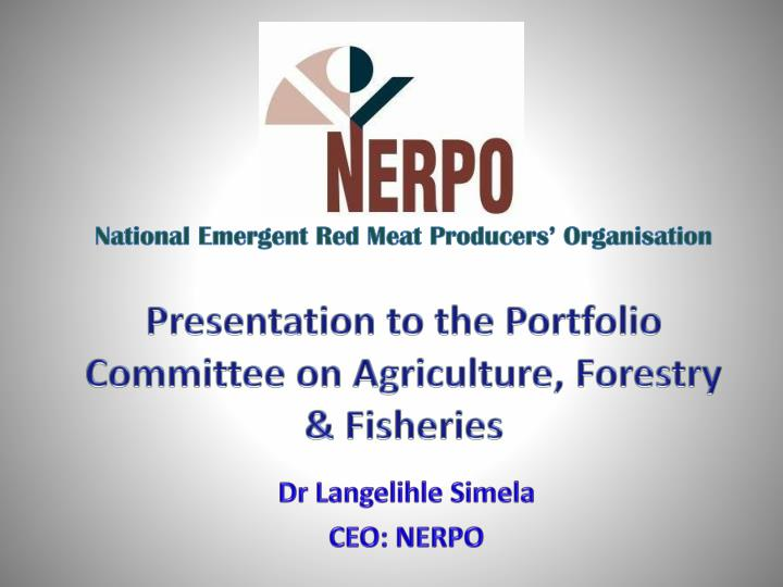 presentation to the portfolio committee on agriculture forestry fisheries