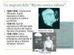 le stagioni della rivista storica italiana