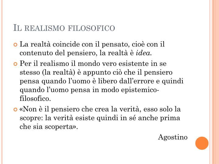 Il realismo filosofico