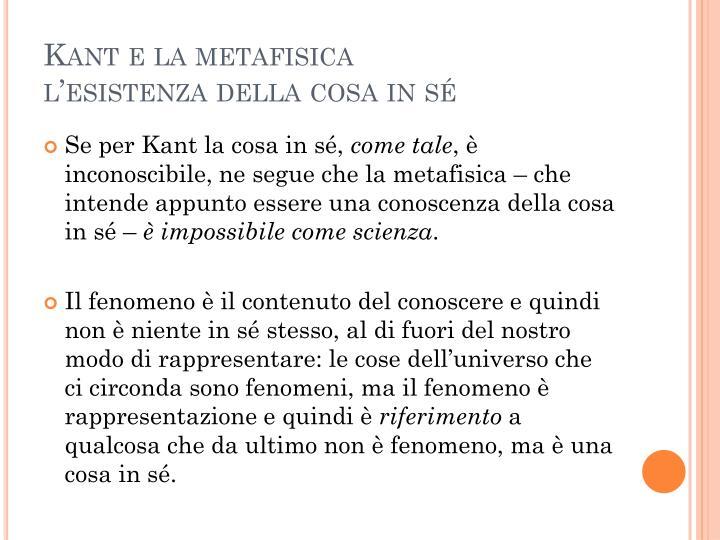 Kant e la metafisica