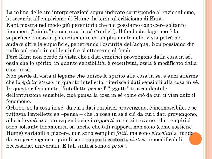 La prima delle tre interpretazioni sopra indicate corrisponde al razionalismo, la seconda all'empirismo di Hume, la terza al criticismo di Kant.