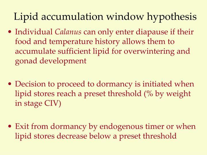 Lipid accumulation window hypothesis