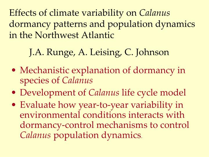 Effects of climate variability on