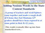 adding noxious weeds to the state content standards