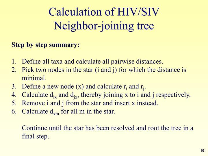 Calculation of HIV/SIV