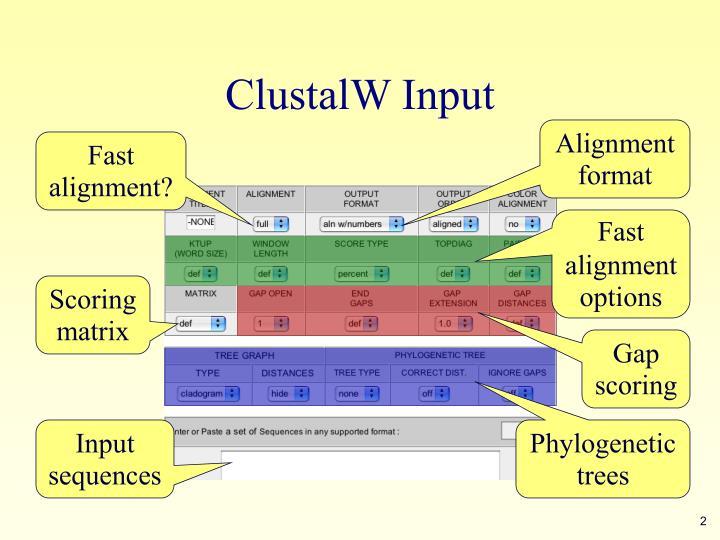 Clustalw input