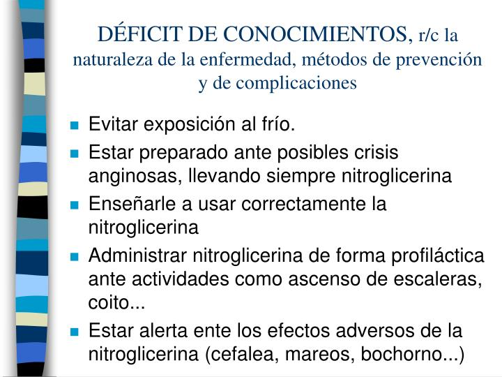 DÉFICIT DE CONOCIMIENTOS,