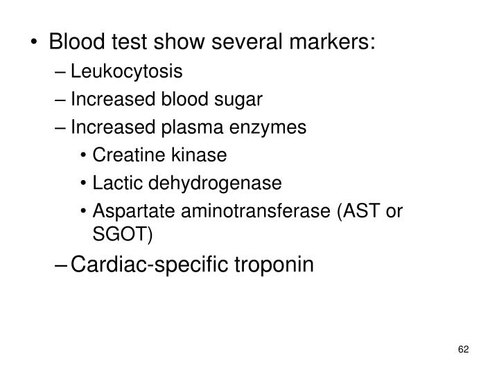 Blood test show several markers: