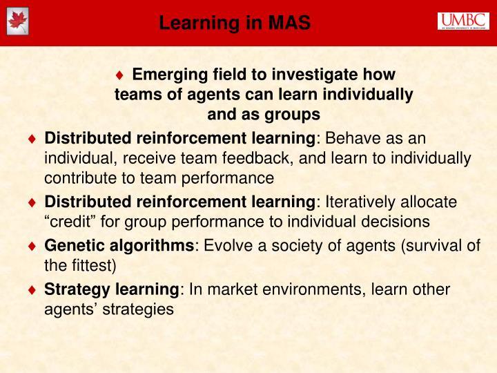 Learning in MAS