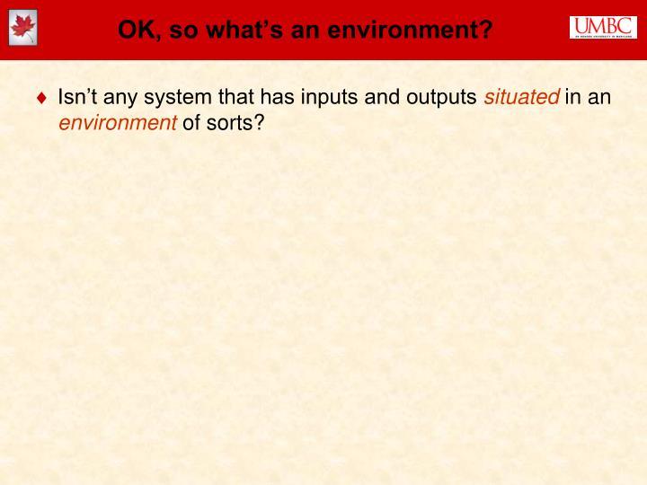 OK, so what's an environment?