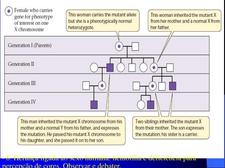 8. Herança ligada ao sexo humana: hemofilia e deficiência para percepção de cores. Observar e debater.
