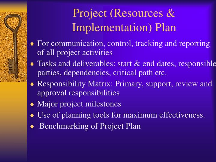 Project (Resources & Implementation) Plan