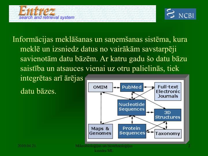 Informācijas meklāšanas un saņemšanas sistēma, kura meklē un izsniedz datus no vairākām sav...