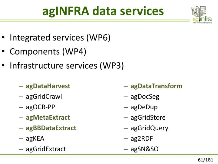 agINFRA data services