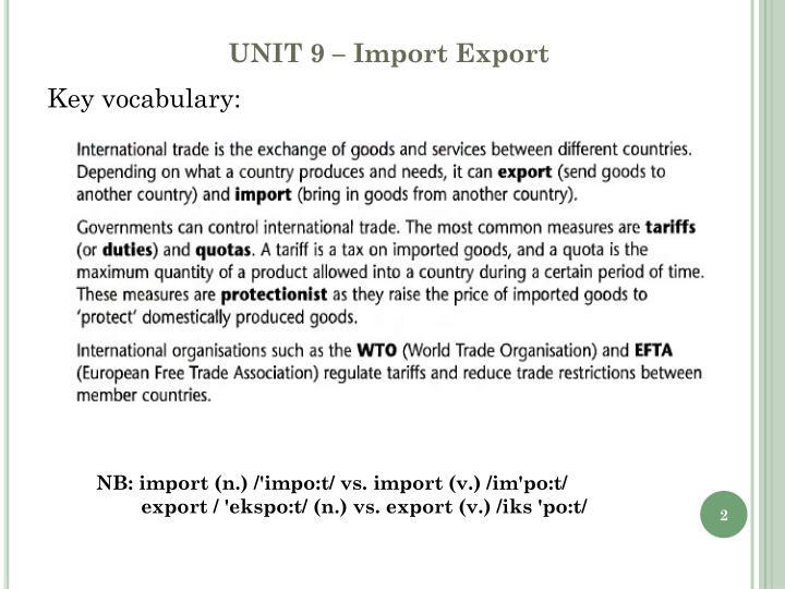 Unit 9 import export