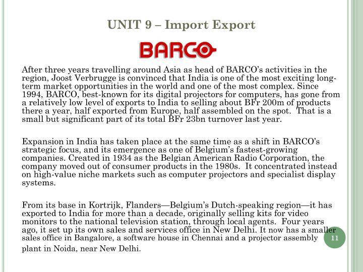 UNIT 9 – Import Export