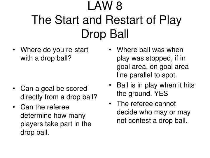 Where do you re-start with a drop ball?