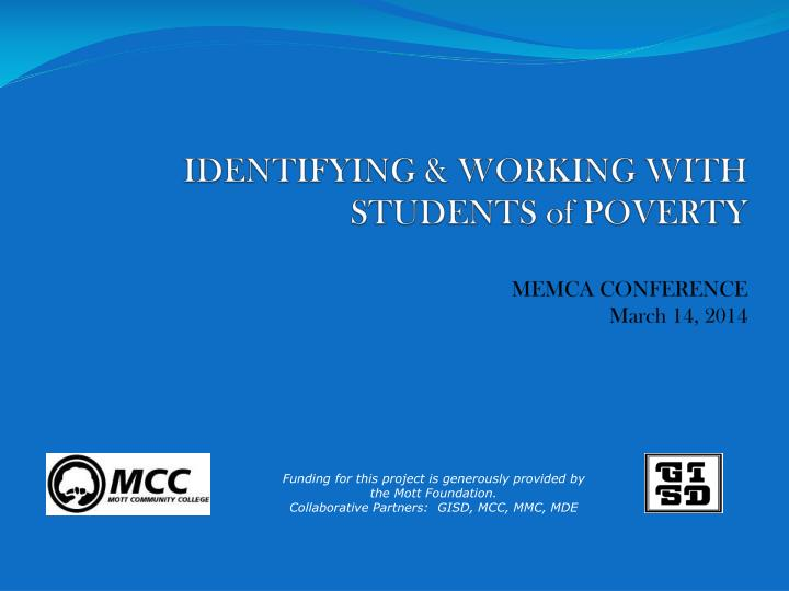 identifying working with students of poverty memca conference march 14 2014