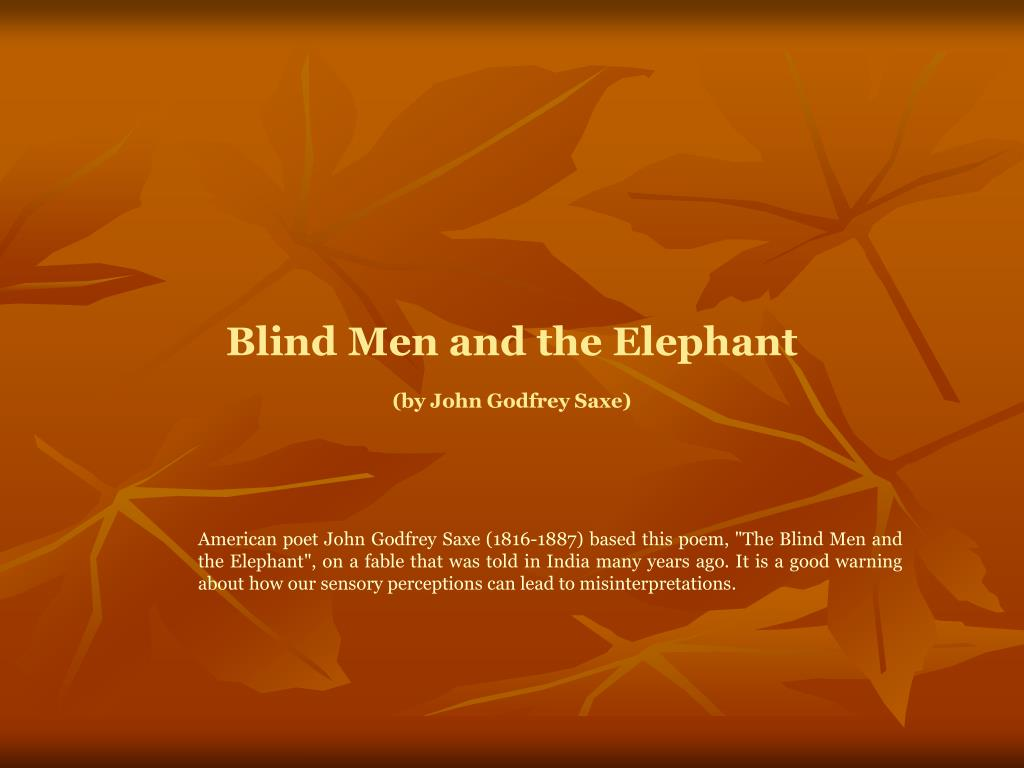 the elephant poem by john godfrey saxe
