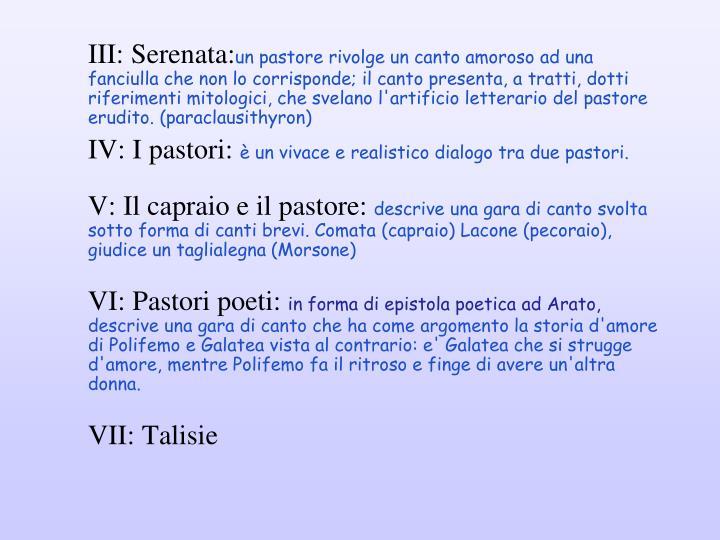 III: Serenata: