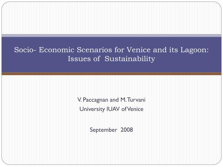 socio economic scenarios for venice and its lagoon issues of sustainability