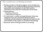 the controversy on fishing activities
