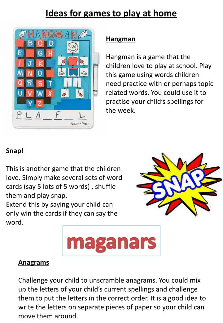 Ideas For Games To Play At Home