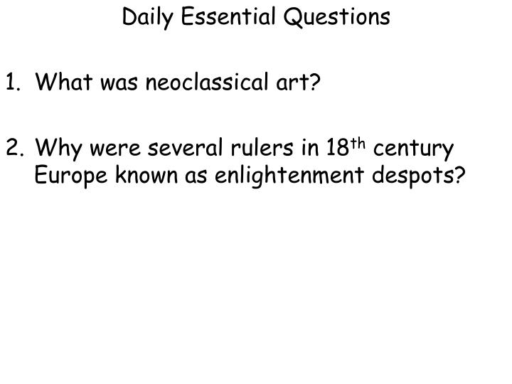 Daily Essential Questions
