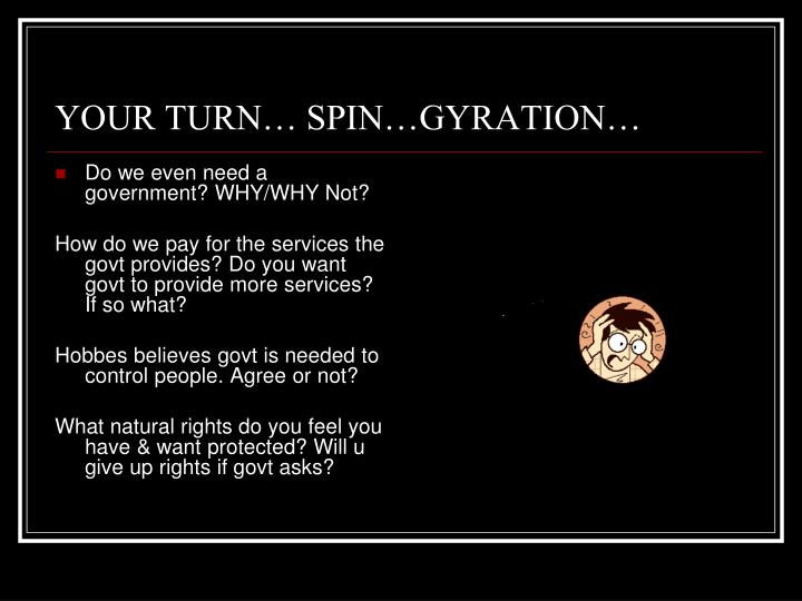 YOUR TURN… SPIN…GYRATION…