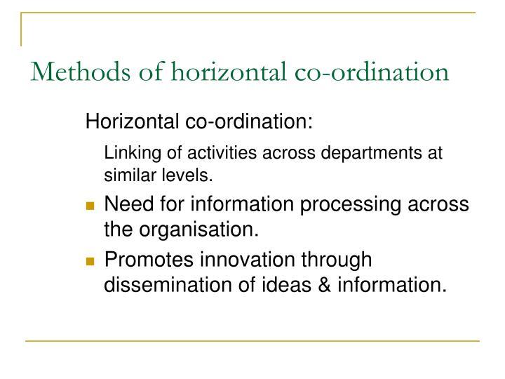 Methods of horizontal co-ordination