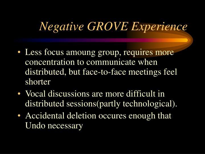 Negative GROVE Experience