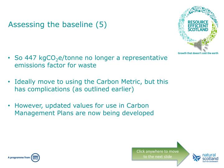 Assessing the baseline (5)