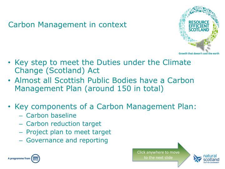 Carbon management in context